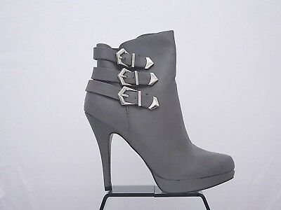487ef772cc1a Women s Grey Triple Buckle High Heel Stiletto Platform Pointed Ankle Boots