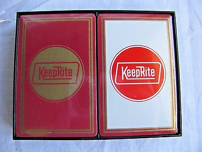 Vintage SEALED KEEPRITE advertising Logo Double Deck Playing Cards USA