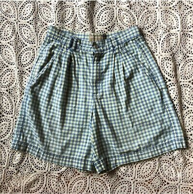 Vintage High Waisted Gingham Cotton Shorts Petite 6