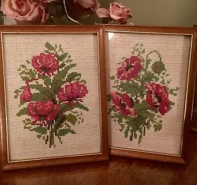 2 Vintage Framed Tapestry Red Poppies Flowers Needlework Embroidery XC