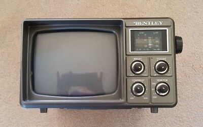 "Vintage Bentley  Portable 5"" Black & White TV Television B&W With Adapter"