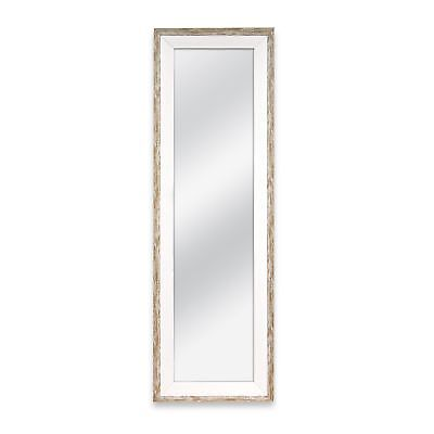 Door Wall Dressing Mirror Full Length Plastic Weathered White Wood Finish Frame