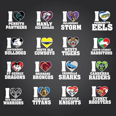 Hi Quality Decal NRL Team Stickers Broncos Eels Rabbitoh's Raiders Roosters ect