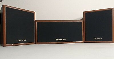 Vintage Technics 3 Speaker System 2x SB-S35 1x SB-C35 Wood Finish Tested Works