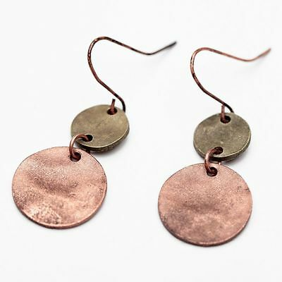 Women Europe Zinc Alloy Drop Earrings Vintage Antique Silver Copper Double D5R2