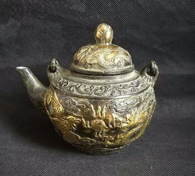 Ancient Chinese Bronze Hand Carved Dragon & Phoneix Pattern Teapot