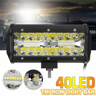 120W CREE 40 LED Work Light Bar Offroad Spot Beam Fog ATV SUV Driving Lamp 6000K