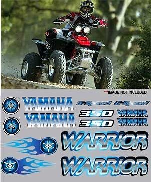 Warrior yamaha BLUE Full Color Stickers Graphics 14pc kit ATV QUAD, 6 speed, 350