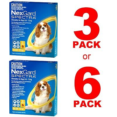 NexGuard Spectra Yellow For Dogs 3.6-7.5kg 3 Pack or 6 Pack