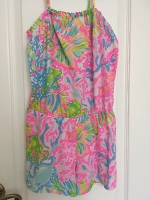 LILLY PULITZER Girls Pink Romper, Size 8-10, Adjustable Blue Green