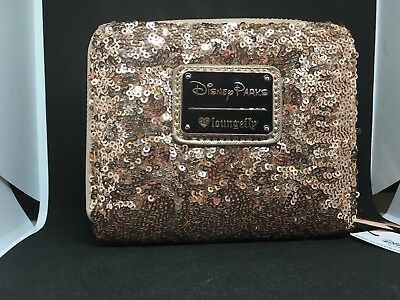 Disney Disneyland Loungefly Rose Gold Ears Sequin Minnie Mini Wallet