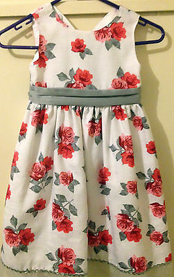 Ladybird Party dress white with red and pink rose motif - Size 5