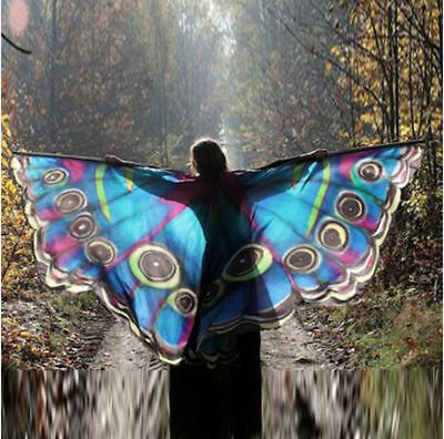 US Women Cape Halloween Costume Christmas Shawl Wrap Butterfly Wing Party Cloak