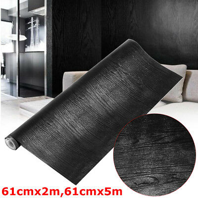 Wall Paper Rolls Black Wood Textured Self Adhesive Home Wallpaper Decal Decor