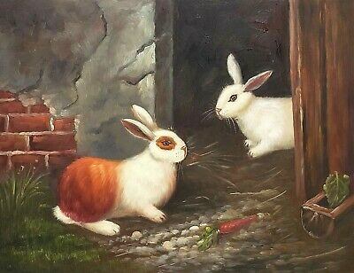 Rabbit in the Farm, #3  12x16 100% Hand painted Oil Painting on Canvas,