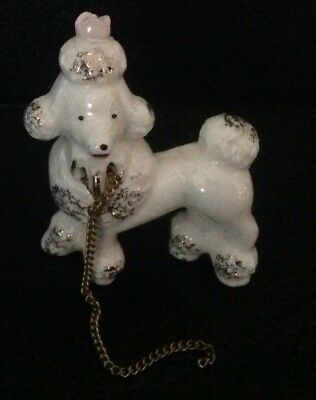 Vintage Ceramic Spaghetti Poodle Dog Puppy Pup With Chain From Poodle Family