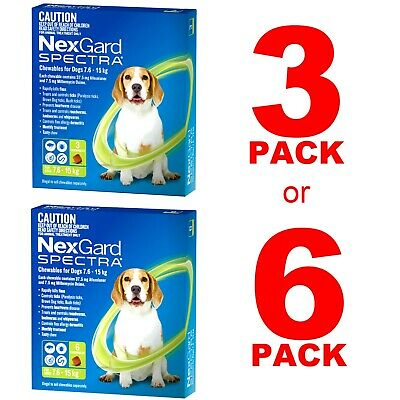 NexGuard Spectra Green For Dogs 7.6-15kg 3 Pack or 6 Pack