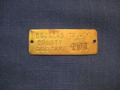 Antique Vintage Oregon 1918  Brass Dog Tax License Tag #407 100 Years Old!