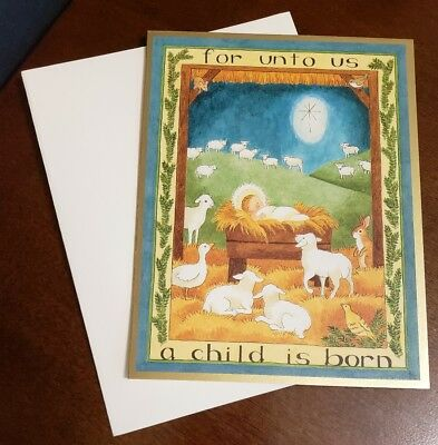 "Darling Caspari Christmas Card w/envelope ""for unto us a child is born"""