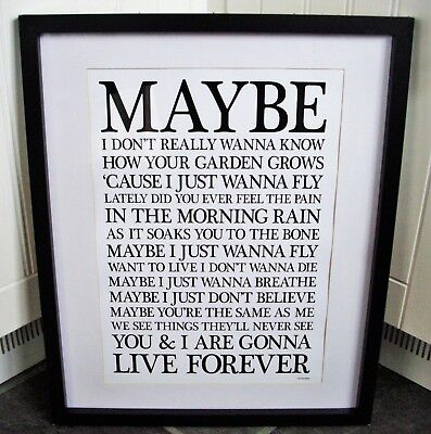 Oasis /  Live Forever A3 size typography lyric art print/poster