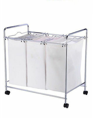 Laundry Basket Trolley 3 Divider Compartment Washing Hamper Cart JBA3098