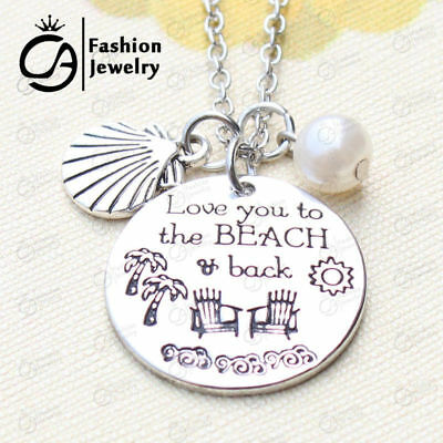 LOVE YOU TO THE BEACH AND BACK BEACH Necklace Silver Pearl Moon