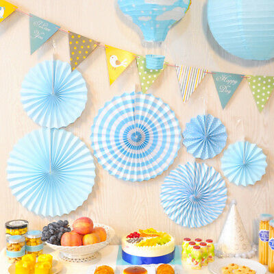 6x Paper Fan Flowers Wedding Birthday Party Tissue Paper Table Decoration Blue