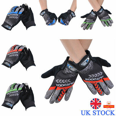 UK Mens Anti-slip Full Finger Gloves Cycling Sports Outdoor Biking Riding Mitts