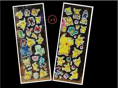 Hot 10 Sheets Pikachu Game Stickers Lot-Kids Paper Crafts Favor Party Gift B58