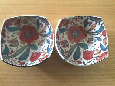 2 Brand New Gorgeous Decorative Hand Painted Stainless Steel Bowls