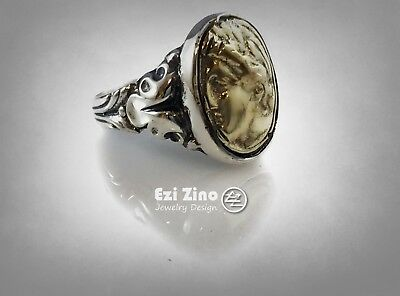Vintage Greek God Helios Brass & Sterling Silver 925 Handmade Ring by Ezi Zino