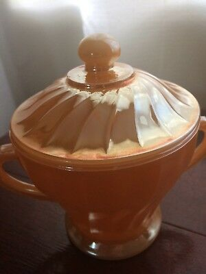 Vintage Anchor Hocking Fire King Peach Lustre Sugar Bowl Mint