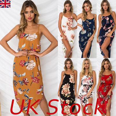 UK Womens Holiday Strappy Midi Dresses Ladies Summer Beach Side Split Sun Dress