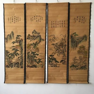 "chinese old paper painting ""精鹏山水""Four murals scroll painting"