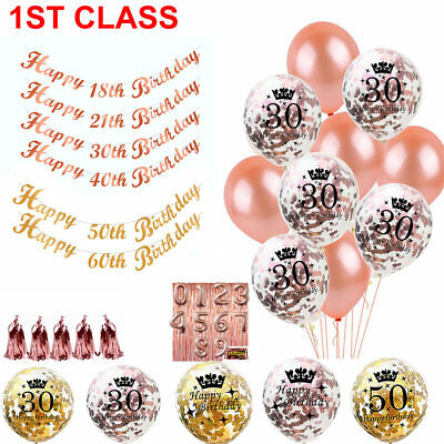 Rose Gold 18/21st/30/40/50 Happy Birthday Confetti Balloons Bunting Banner Party