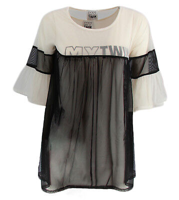 T-shirt con top My Twin Twinset JS822B colore bianco e nero per donna My Twin Tw