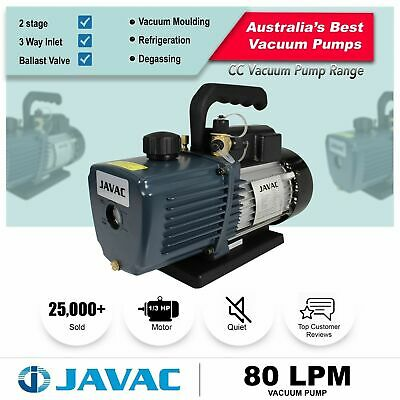 Vacuum Pump - JAVAC Dual Stage 80l/m - 3 Way Inlet, 15 micron for Refrigeration