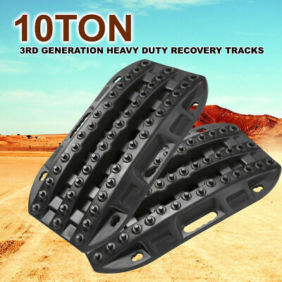 Pair 4WD Recovery Tracks 10T Off Road 4x4 Sand Track 10 ton Black 3RD Generation