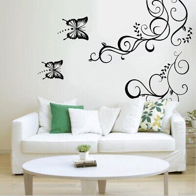DIY Butterfly Flower Removable Wall Stickers Vinyl Art Decal Home Room Decor AU