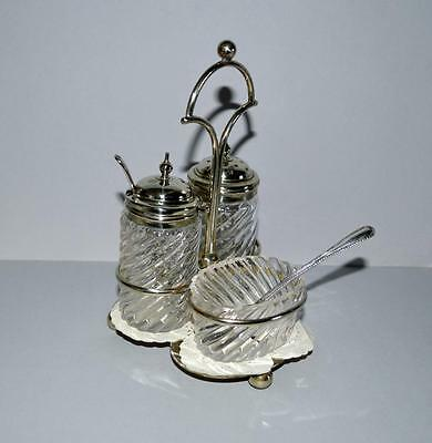 A Very Attractive Old Glass and Plated Condiment Set With Stand.3 Piece + Stand