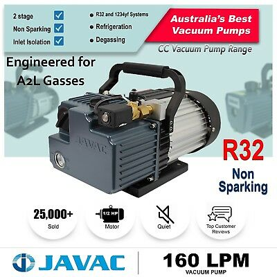 Vacuum Pump - JAVAC Dual Stage 160l/m Non Sparking for A2L Gasses Including R32