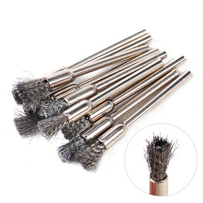 10x 3mm Steel Pencil Wire Shank Wheel Cup Brushes Polish Rotary Tool