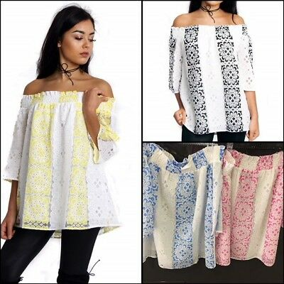 2f6f59263e URBAN MIST Womens Summer Off Shoulder Lace Geometric Floral Rushed Neck Top
