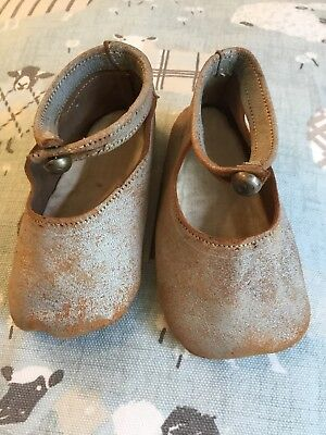 """Antique Baby Shoes Leather 4 1/4"""" Long Approx Suit a Doll"""
