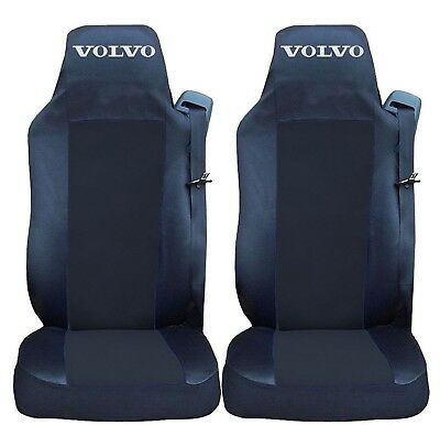 2x Seat Covers for VOLVO FH12 FH16 FL FM Tailored HGV Truck Lorry Black/Black