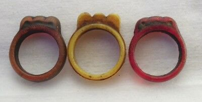 3 Rare Old Synthetic Pendants/rings Mauritania