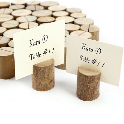 50pcs Rustic Wooden Wedding Name Place Card Holders Party Tableware Stands