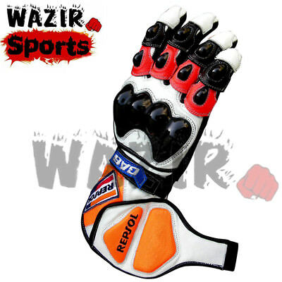 Honda Repsol Motorbike Leather Gloves Rider Suits Racing Gloves MotoGp All Size