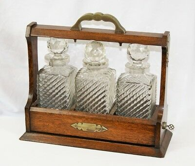 Antique Edwardian Oak with Brass Fittings 3 Decanter Set Tantalus Drinks Holder