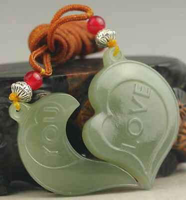 A pair of Chinese natural hetian jade hand-carved lover pendant NO.D382